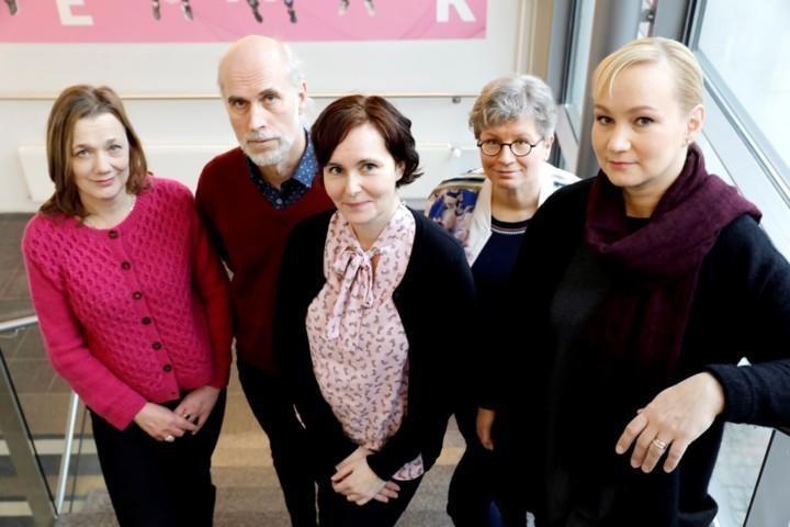 DigiIN-työryhmä Laurea-ammattikorkeakoulussa:vasemmalta Soile Juujärvi, Teemu Rantanen, Sari Heikkinen, Piia Silvennoinen ja Päivi Pöyry-Lassila.