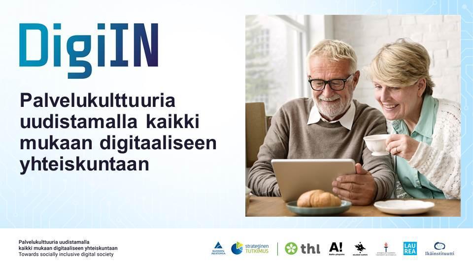 DigiIN-logo ja kaksi henkilöä tietokoneen ääressä.